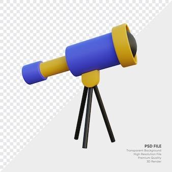 Illustrazione 3d del telescopio