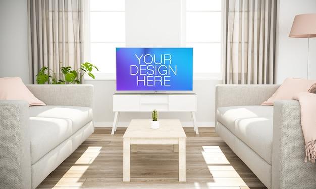 La televisione su un soggiorno mock up
