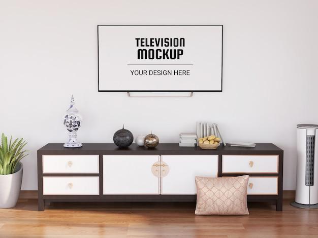 Mockup televisivo nel soggiorno