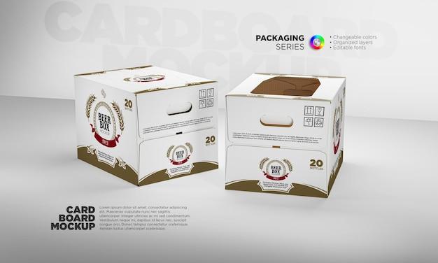 Modello di scatola di cartone kraft per birra in 3d