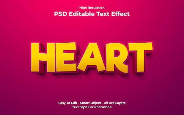 Modello di effetto testo cuore