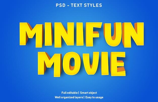 Modello di effetto testo minifun film