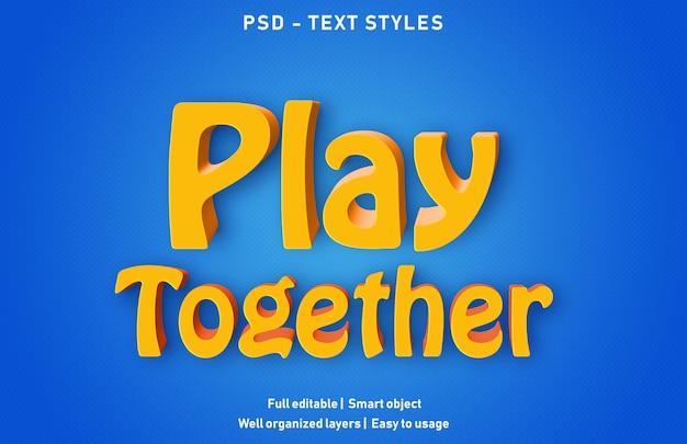Modello di gioca insieme effetto testo Psd Premium