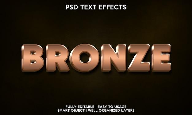 Modello per il carattere del testo con effetto testo bronzo