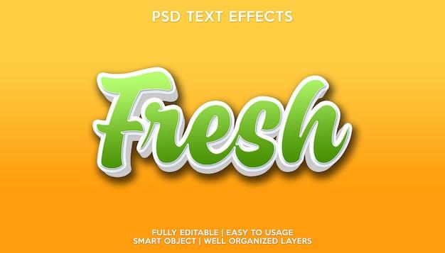 Modello per il carattere del testo con effetto di testo fresco
