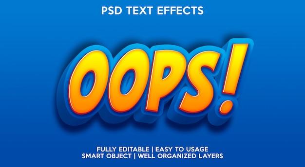 Modello per il carattere del testo con oops! effetto testo