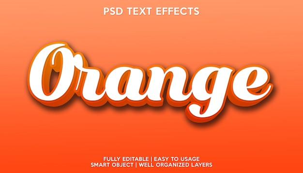 Modello per il carattere del testo con effetto di testo arancione