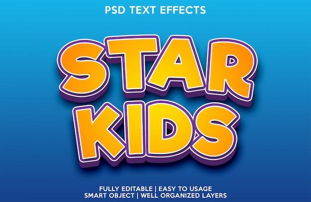 Modello per il carattere del testo con effetto testo stella bambini