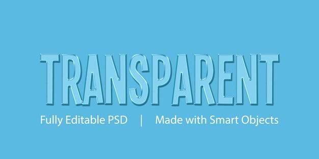 Modello di effetto stile testo trasparente