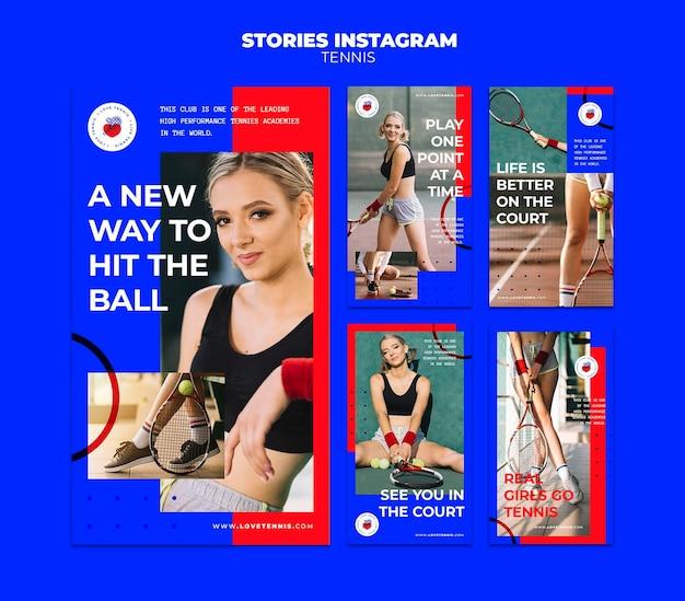 Modello di storie di instagram di concetto di tennis