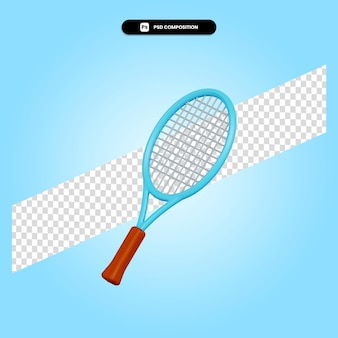Racchetta da tennis 3d render illustrazione isolata