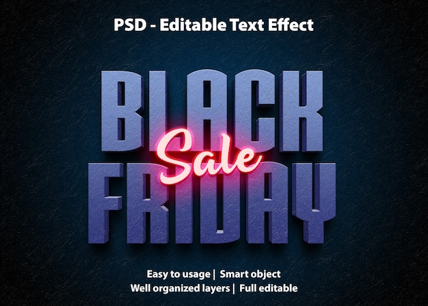 Modello di vendita venerdì nero effetto testo
