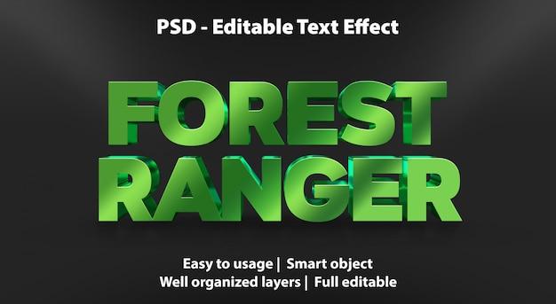 Modello di forest ranger effetto testo