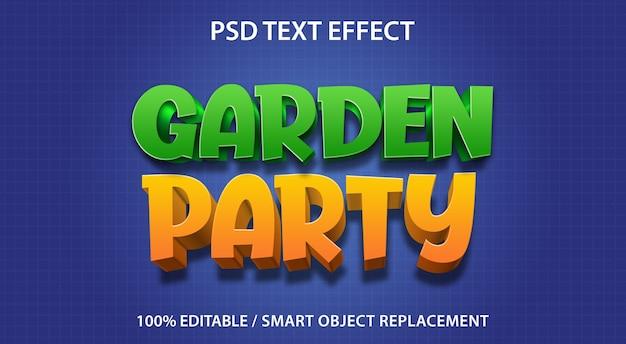 Modello di festa in giardino effetto testo