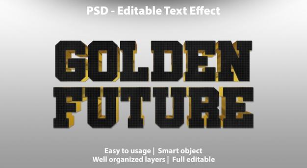 Modello futuro dorato effetto testo