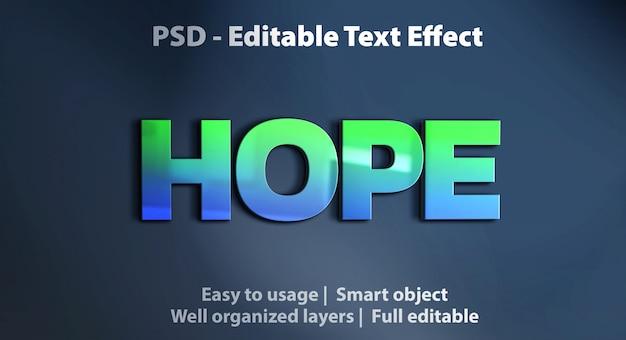 Modello di speranza effetto testo