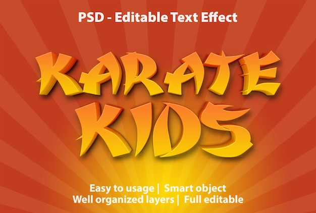 Modello per bambini karate effetto testo
