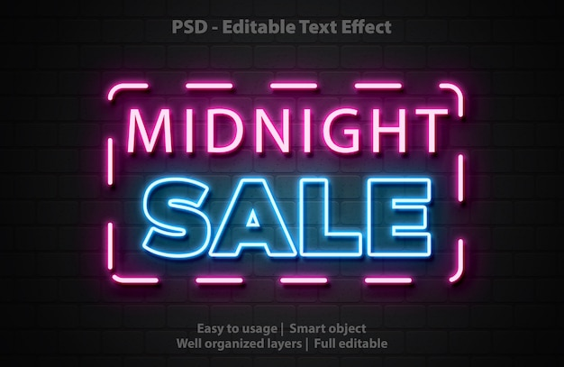Modello di vendita di mezzanotte effetto testo