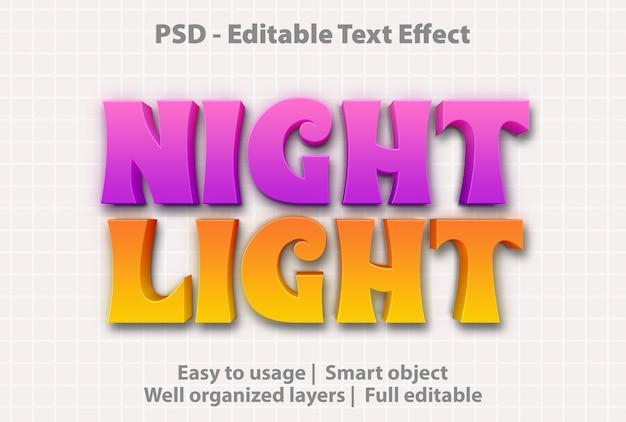 Modello di luce notturna effetto testo