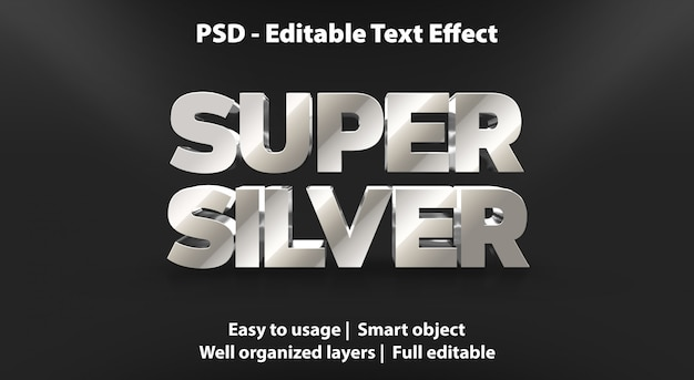 Modello super silver effetto testo