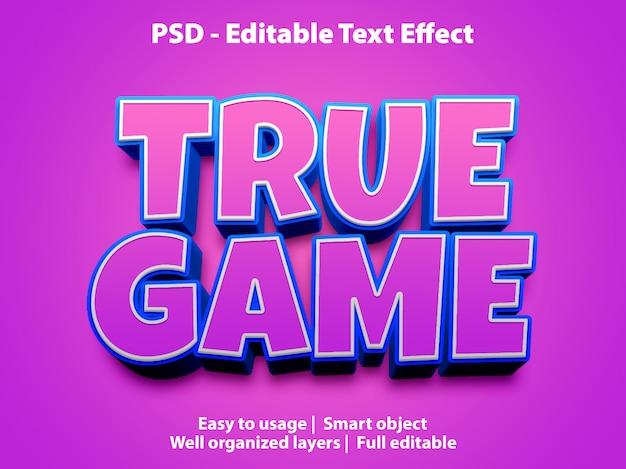 Modello di gioco vero effetto testo