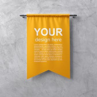 Modello di banner tessile sul muro grigio