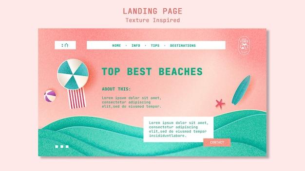 Modello di pagina di destinazione spiaggia testurizzata