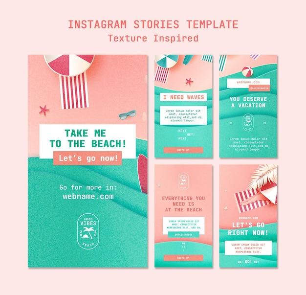 Storie di social media sulla spiaggia con texture Psd Premium