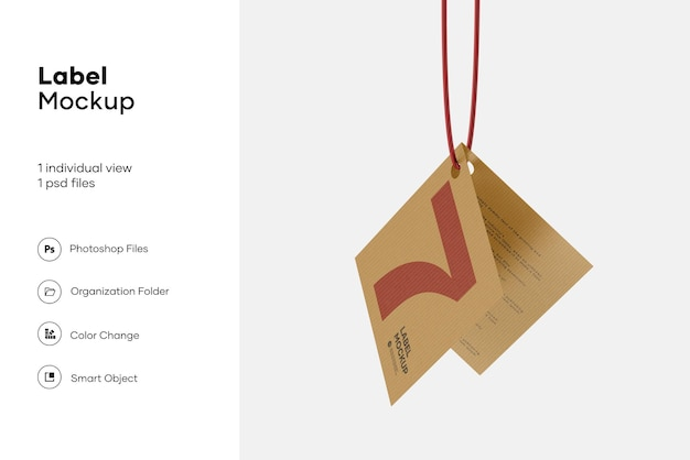 Etichetta piegata con texture con mockup di corda