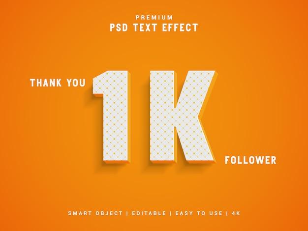 Grazie modello di stile di testo follower 1k