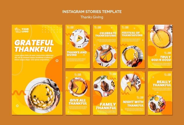 Modello di storie di instagram di concetto di ringraziamento