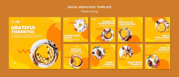 Modello di post sui social media del concetto di ringraziamento