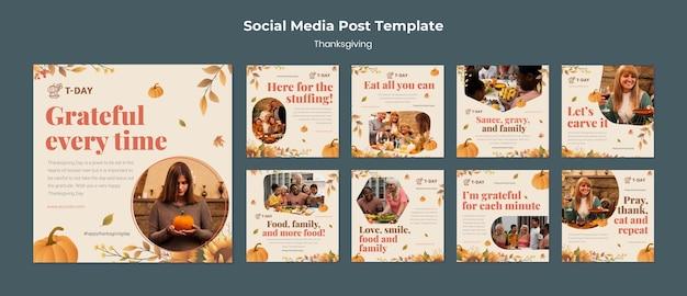 Set di post instagram per il giorno del ringraziamento