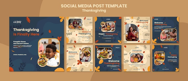 Post sui social media del giorno del ringraziamento con foglie