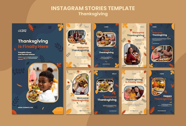 Storie sui social media del giorno del ringraziamento con foglie