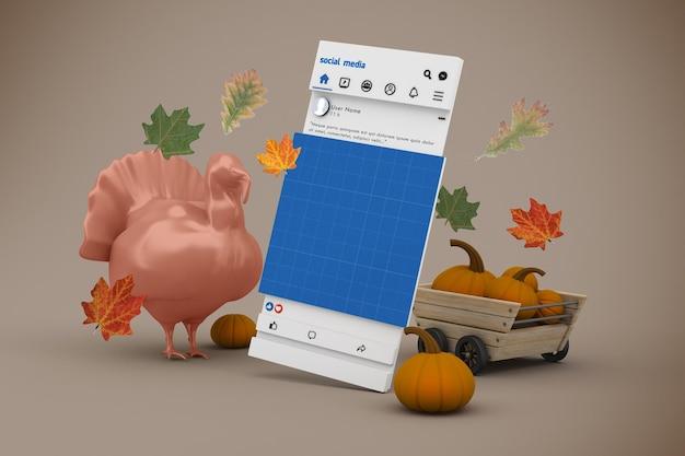 Modello di social media del ringraziamento