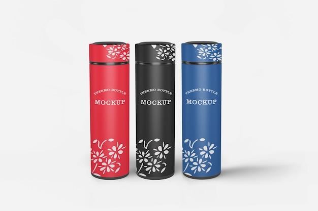 Mockup di bottiglia d'acqua thermos isolato