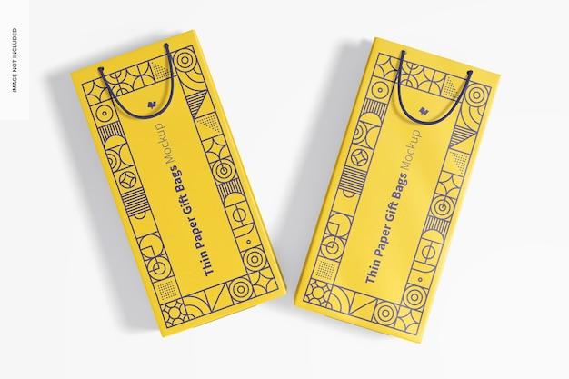 Sacchetto regalo in carta sottile con manico in corda mockup