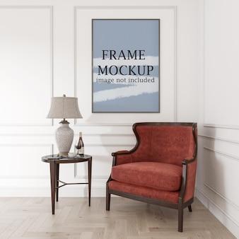 Mockup di cornice per poster sottile in interni classici