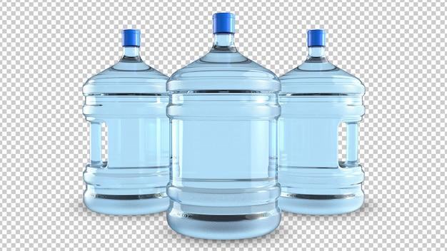 Tre grandi bottiglie di plastica per il raffreddamento dell'acqua