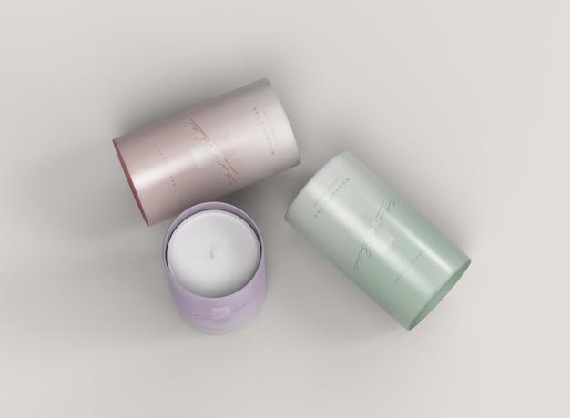 Mockup di tre candele