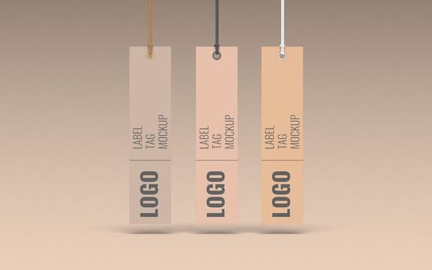 Vista frontale del modello dell'etichetta dell'etichetta di tre vestiti