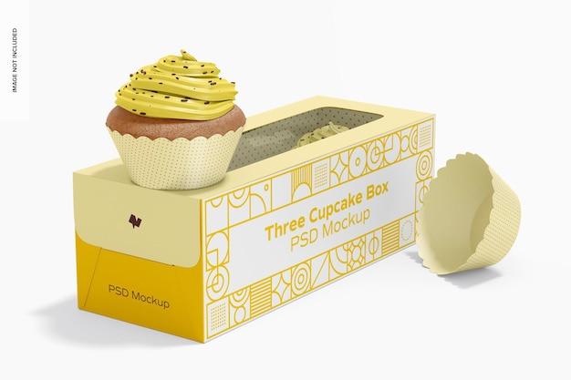 Tre cupcake box mockup, vista a sinistra