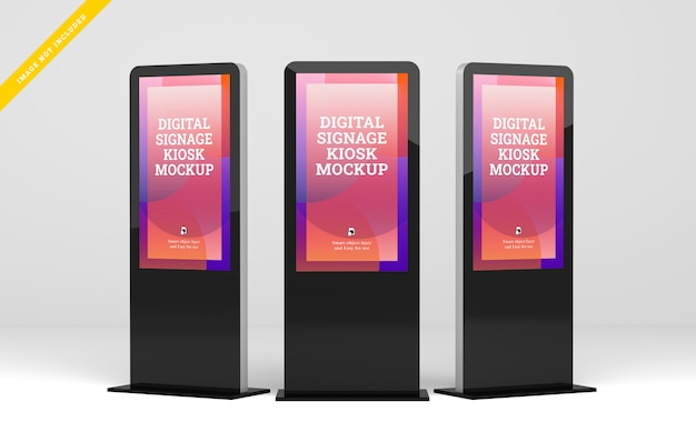 Tre segnaletica digitale con display mockup.