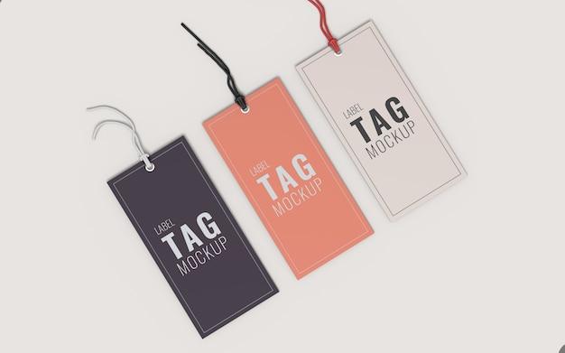 Tre etichetta di moda etichetta mockup vista in alto a sinistra