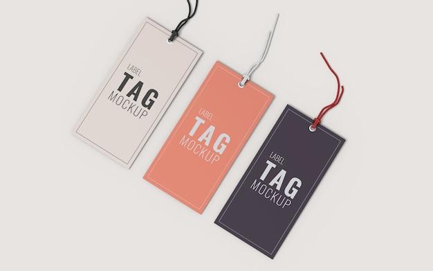 Tre etichetta di moda etichetta mockup vista in alto a destra