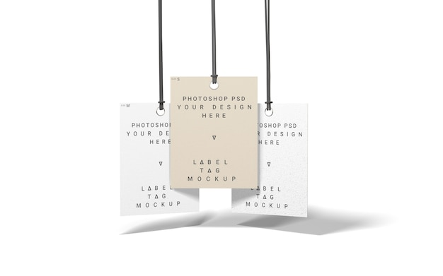 Vista dall'alto di tre etichette di mockup di moda