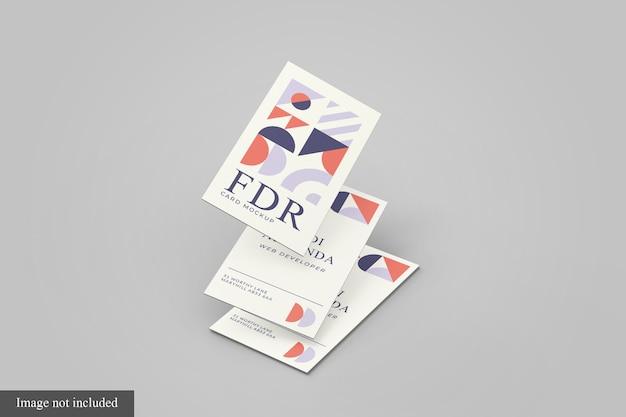 Tre floating business card mockup