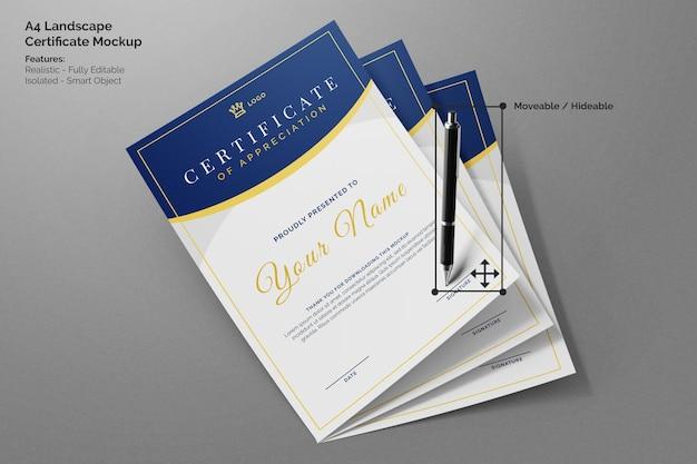 Tre volanti minimi di carta a4 ritratto certificato accademico mockup realistico con penna firma