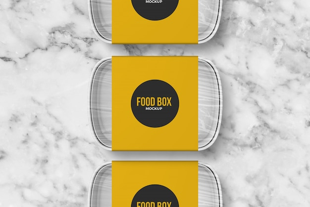 Mockup di scatola da asporto di tre alimenti
